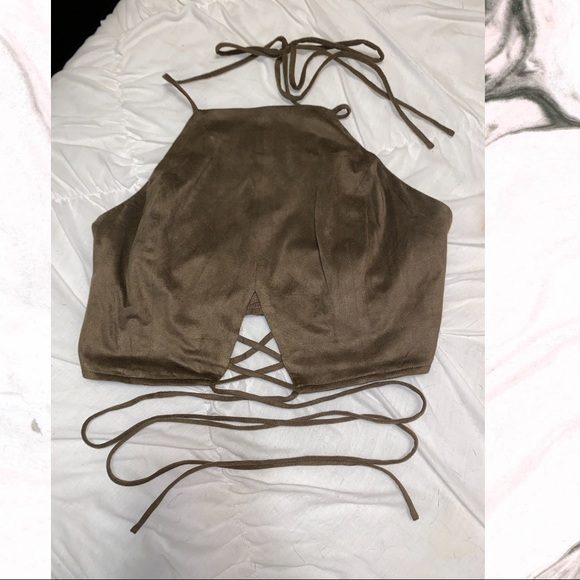 one the land Tops - Army Green Suede Crop Top